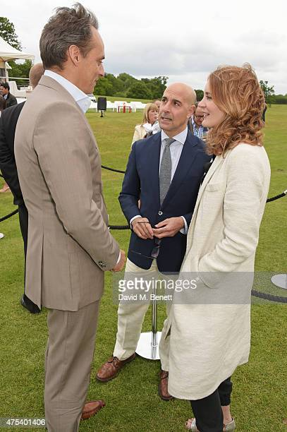 Andre Konsbruck Director of Audi UK Stanley Tucci and Felicity Blunt attend day two of the Audi Polo Challenge at Coworth Park on May 31 2015 in...