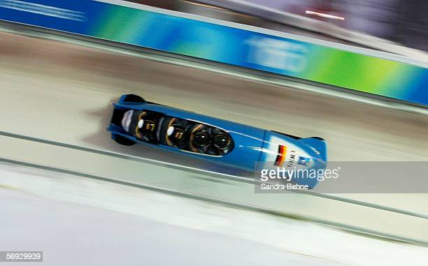 Andre Lange Rene Hoppe Kevin Kuske and Martin Putze of Germany 1 compete in the Four Man Bobsleigh event on Day 14 of the 2006 Turin Winter Olympic...