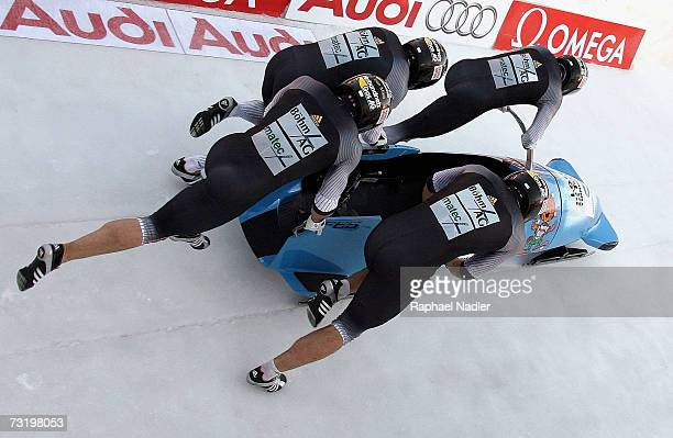 Andre Lange Rene Hoppe Kevin Kuske and Martin Putzeduring of Germany compete in the Four Man Bobsleigh event of the Bobsleigh World Championships on...