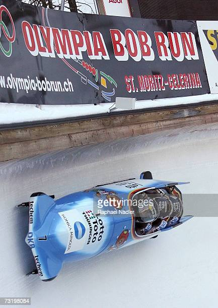 Andre Lange Rene Hoppe Kevin Kuske and Martin Putzeduring of Germany compete in the Four Man Bobsleigh event at the Bobsleigh World Championships on...