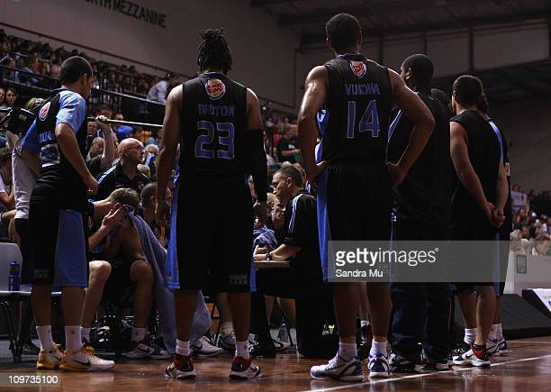 Andre Lemanis coach of the Breakers talks to the team during the round 21 NBL match between the New Zealand Breakers and the Townsville Crocodiles at...