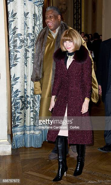 Andre Leon Talley and Anna Wintour attend the Stella McCartney Ready to Wear Fall/Winter 2012/2013 show at Hotel de Ville de Paris as part of Paris...