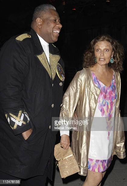Andre Leon Talley and Diane Von Furstenberg are seen on the streets of Manhattan on April 21 2009 in New York City New York
