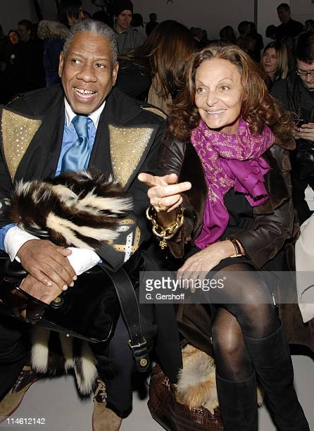 Andre Leon Talley and Diane Von Furstenberg during MercedesBenz Fashion Week Fall 2007 Calvin Klein Front Row and Backstage at 205 West 39th Street...