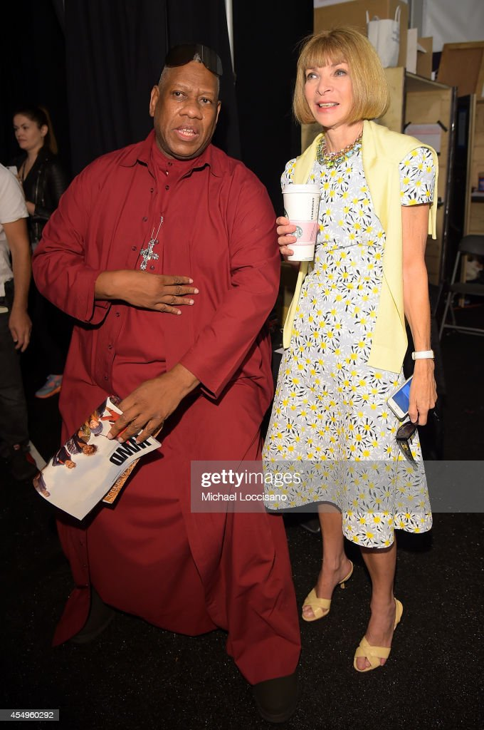 Andre Leon Talley (L) and Editor-in-Chief of Vogue Anna Wintour backstage at the Carolina Herrera fashion show during Mercedes-Benz Fashion Week Spring 2015 at The Theatre at Lincoln Center on September 8, 2014 in New York City.