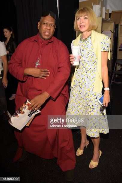 Andre Leon Talley and Editor-in-Chief of Vogue Anna Wintour backstage at the Carolina Herrera fashion show during Mercedes-Benz Fashion Week Spring...