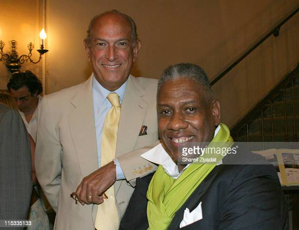 Andre Leon Talley and Oscar De La Renta during Andre Leon Talley Book Signing at Rinozzoli Book Store in New York City July 19 2005 at Rinozzoli Book...