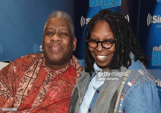 Andre Leon Talley and Whoopi Goldberg visit SiriusXM Studios on April 14 2017 in New York City