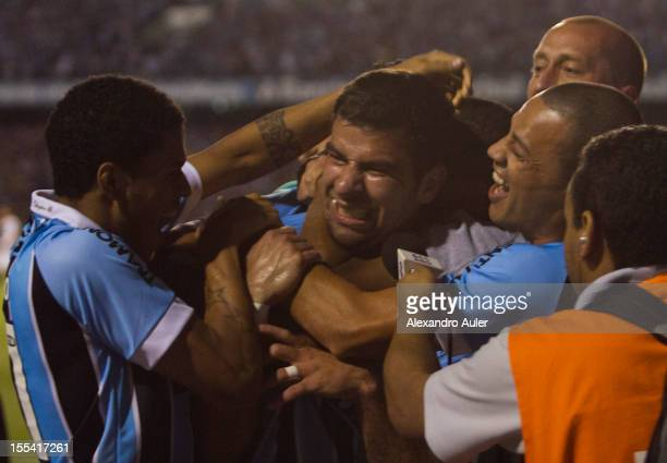 Andre Lima of Grêmio celebrates a goal during a match between Grêmio and Ponte Preta as part of the Brazilian Championship Serie A at Olímpico...