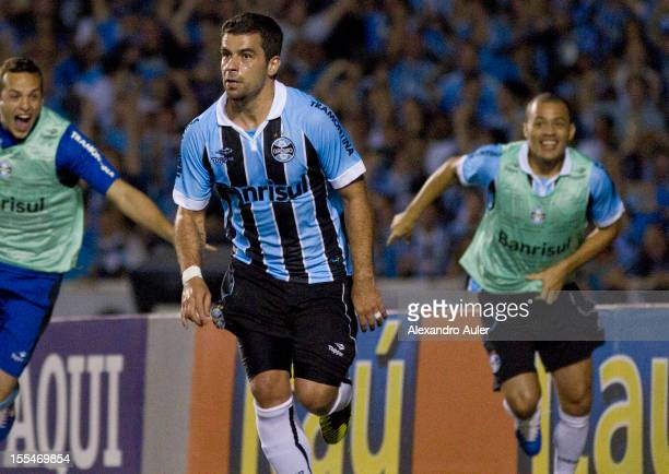Andre Limaof Grêmio celebrates a goal during a match between Grêmio and Ponte Preta as part of the Brazilian Championship Serie A at Olímpico stadium...