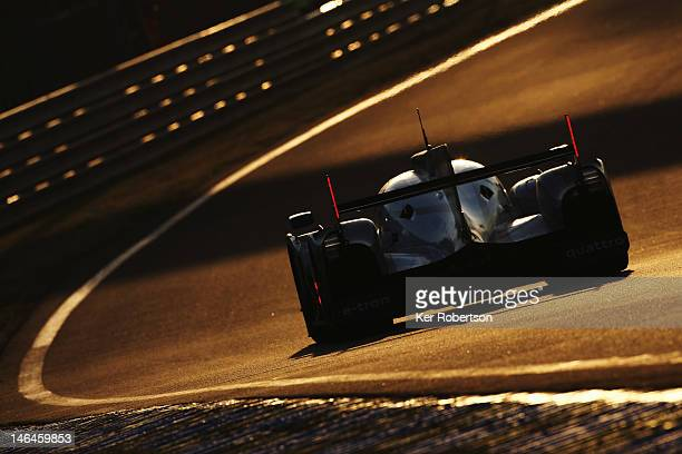 Andre Lotterer drives the Audi Sport Team Joest R18 ETron Quattro during the Le Mans 24 Hour race at the Circuit de la Sarthe on June 16 2012 in Le...