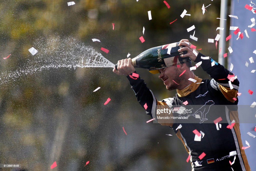 Andre Lotterer of Germany, Techeetah celebrates his second place with champagne during the ABB Formula-E Antofagasta Minerals Santiago E-Prix on February 3, 2018 in Santiago, Chile.