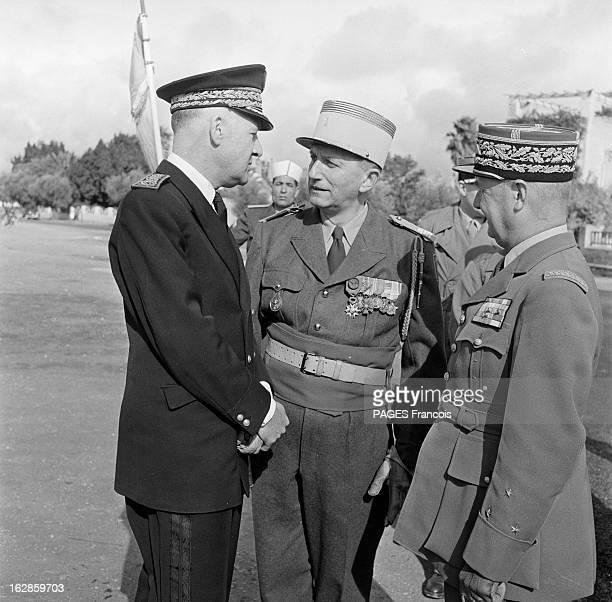 Andre Louis Dubois En decembre 1955 le haut fonctionnaire et préfet de Police de la seine Andre Louis DUBOIS en tournée au Maroc Ici discutant avec...