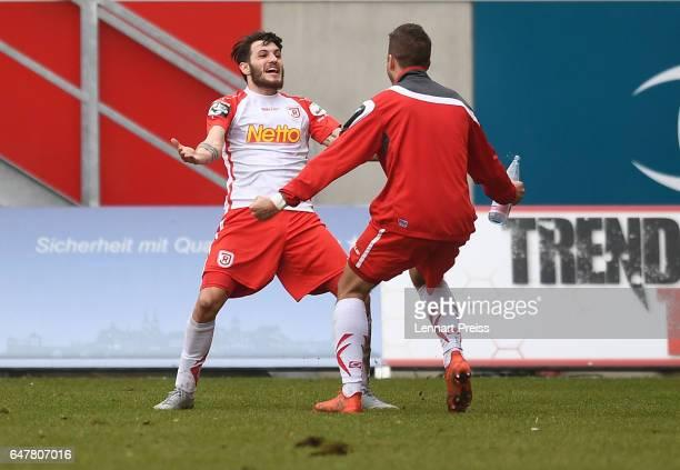 Andre Luge of Jahn Regensburg celebrates his side's second goal during the 3. Liga match between Jahn Regensburg and Sportfreunde Lotte at...
