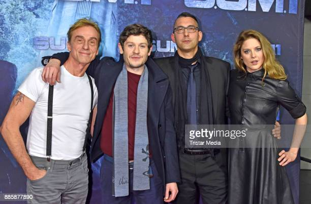 Andre M Hennicke Iwan Rheon Christian Pasquariello and Zoe Grisedale attend the 'SUM 1' premiere at CineStar movie theatre on December 4 2017 in...