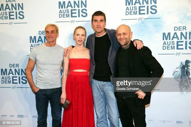 Andre M Hennicke Susanne Wuest Director Felix Randau and Juergen Vogel during the premiere of 'Der Mann aus dem Eis' at Cinemaxx on November 20 2017...