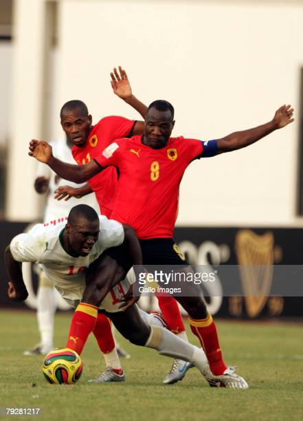 Andre Macanga and Papa Bouba during the Group D Arican Cup Of Nations match between Senegal and Angola held at the Tamale Stadium on January 27, 2008...