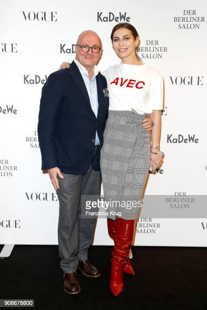 Andre Maeder and blogger Masha Sedgwick during the celebration of 'Der Berliner Salon' by KaDeWe Vogue at KaDeWe on January 18 2018 in Berlin Germany