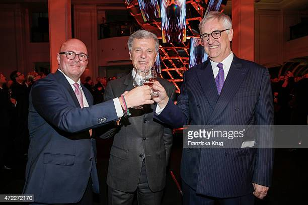 Andre Maeder Bernard Peillon and Maurice Hennessy during the Hennessy 250th anniversary celebrations on May 5 2015 in Berlin Germany