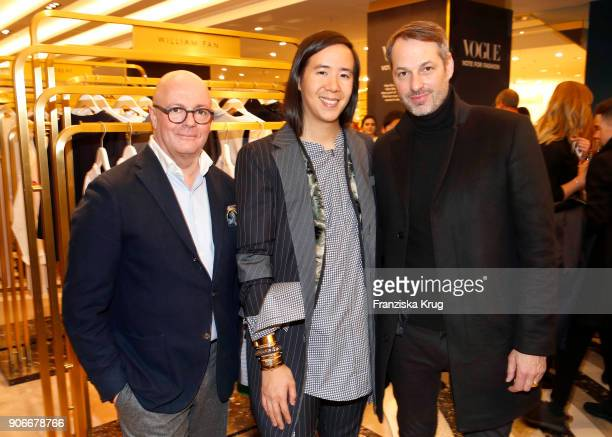 Andre Maeder designer William Fan and Marcus Kurz during the celebration of 'Der Berliner Salon' by KaDeWe Vogue at KaDeWe on January 18 2018 in...