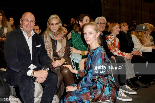 Andre Maeder Loulou Berg and Austrian actress Susanne Wuest attend the Odeeh Defile during the Berlin Fashion Week Autumn/Winter 2019 at Haus Der...