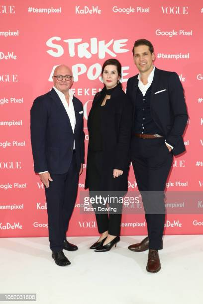 Andre Maeder Simone Heift and Nico Heinemann attend the 'Strike A Pose Weekend En Vogue' event at KaDeWe on October 12 2018 in Berlin Germany