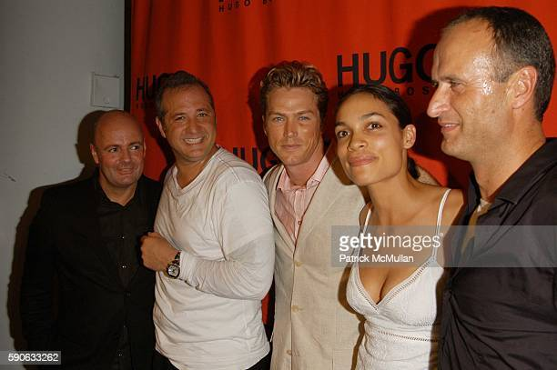 Andre Maeder Tony Lucia Jason Lewis Rosario Dawson and Dr Bruno Saelzer attend Hugo Boss Rooftop Party at Hugo Boss Rooftop NYC USA on July 19 2005