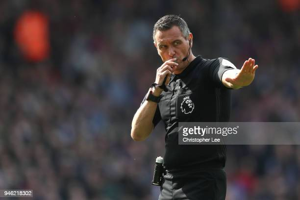 Andre Marriner gives instruction during the Premier League match between Crystal Palace and Brighton and Hove Albion at Selhurst Park on April 14...