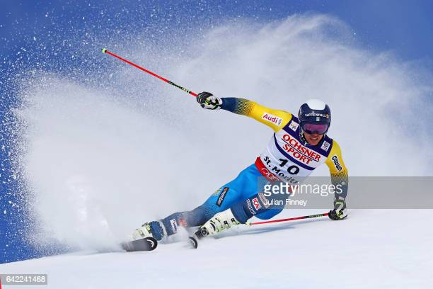 Andre Mhyrer of Sweden competes in the Men's Giant Slalom during the FIS Alpine World Ski Championships on February 17 2017 in St Moritz Switzerland