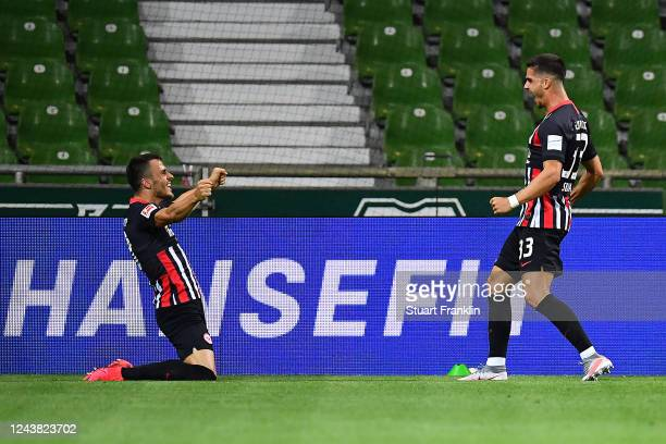 Andre Miguel Valente da Silva of Eintracht Frankfurt celebrates scoring during the Bundesliga match between SV Werder Bremen and Eintracht Frankfurt...