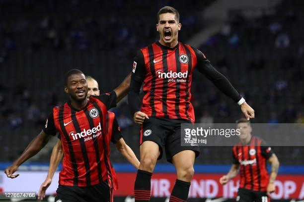 Andre Miguel Valente da Silva of Frankfurt celebrates scoring the opening goal during the Bundesliga match between Hertha BSC and Eintracht Frankfurt...