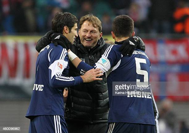 Andre Mijatovic Headcoach Ralph Hasenhuettl and Benjamin Huebner of Ingolstadt celebrate the victory during the Second Bundesliga match between...