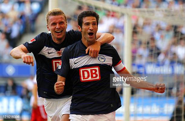 Andre Mijatovic of Berlin celebrates after he scores his team's equalizing goal uring the Bundesliga match between Hamburger SV and Hertha BSC Berlin...