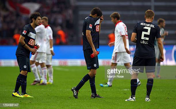 Andre Mijatovic of Berlin looks dejected after the Bundesliga match between Hertha BSC Berlin and 1 FC Nuernberg at Olympic Stadium on August 6 2011...