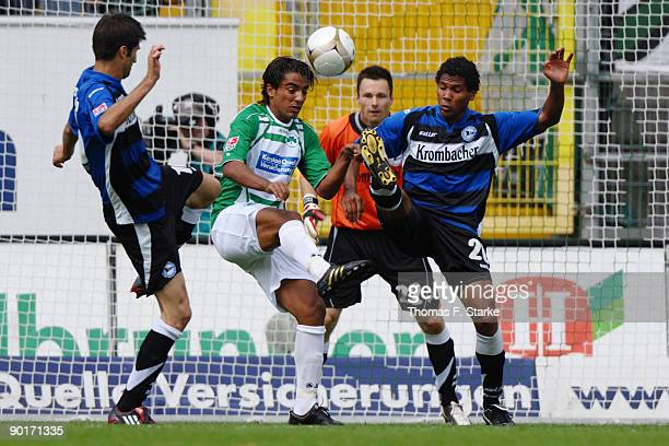 Andre Mijatovic of Bielefeld, Sami Allagui of Fuerth, Dennis Eilhoff and Michael Lamey of Bielefeld in action during the Second Bundesliga match...