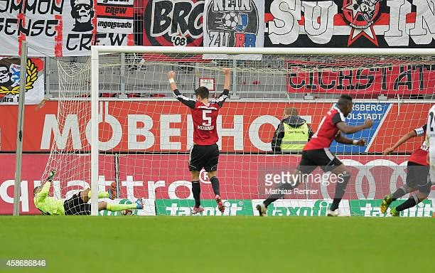 Andre Mijatovic of FC Ingolstadt 04 scores the 33 during the game between FC Ingolstadt 04 and Union Berlin on November 9 2014 in Ingolstadt Germany