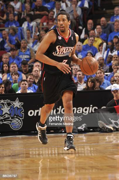 Andre Miller of the Philadelphia 76ers moves the ball against the Orlando Magic in Game Five of the Eastern Conference Quarterfinals during the 2009...