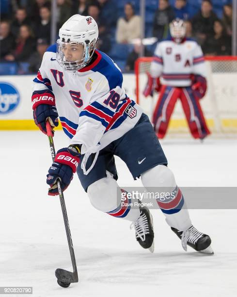 Andre Miller of the USA Nationals controls the puck against the Russian Nationals during the 2018 Under-18 Five Nations Tournament game at USA Hockey...