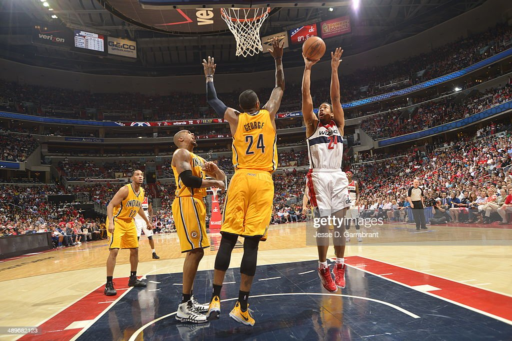 Andre Miller #24 of the Washington Wizards goes up for the shot against the Indiana Pacers during Game Four of the Western Conference Semifinals on May 11, 2014 at the Verizon Center, in Washington DC.