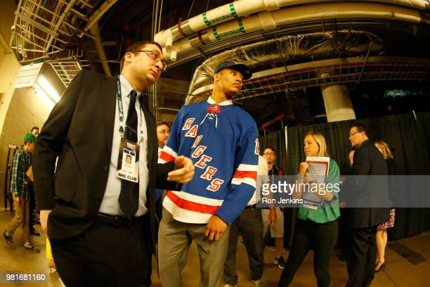Andre Miller walks through the hallways after being selected twentysecond overall by the New York Rangers during the first round of the 2018 NHL...