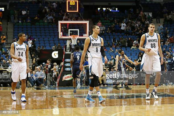 Andre Miller Zach LaVine and Nemanja Bjelica of the Minnesota Timberwolves during the game against the Memphis Grizzlies on November 15 2015 at...
