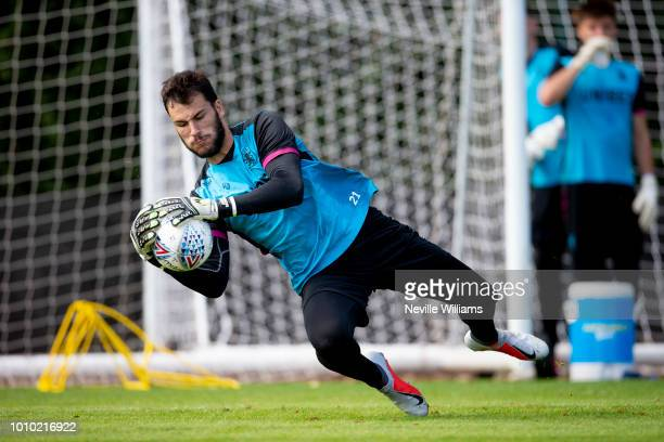 Andre Moreira of Aston Villa in action during a training session at the club's training ground at Bodymoor Heath on August 03 2018 in Birmingham...