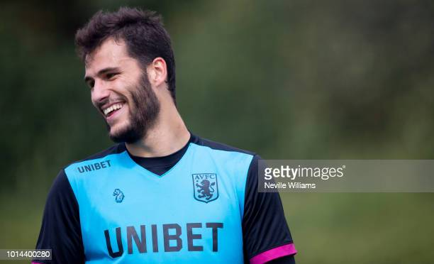 Andre Moreira of Aston Villa in action during a training session at the club's training ground at Bodymoor Heath on August 10 2018 in Birmingham...
