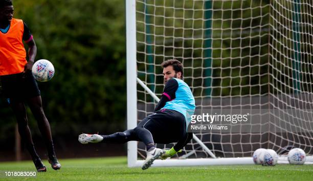 Andre Moreira of Aston Villa in action during a training session at the club's training ground at Bodymoor Heath on August 17 2018 in Birmingham...