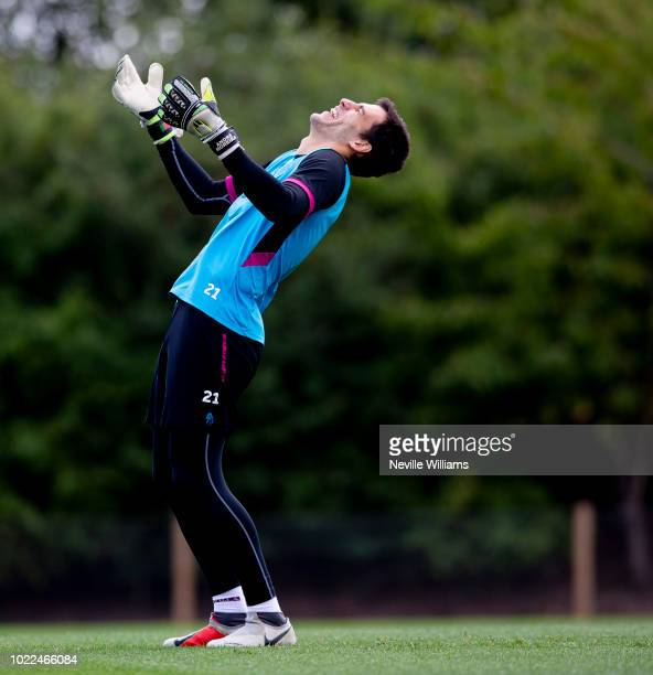 Andre Moreira of Aston Villa in action during a training session at the club's training ground at Bodymoor Heath on August 24 2018 in Birmingham...