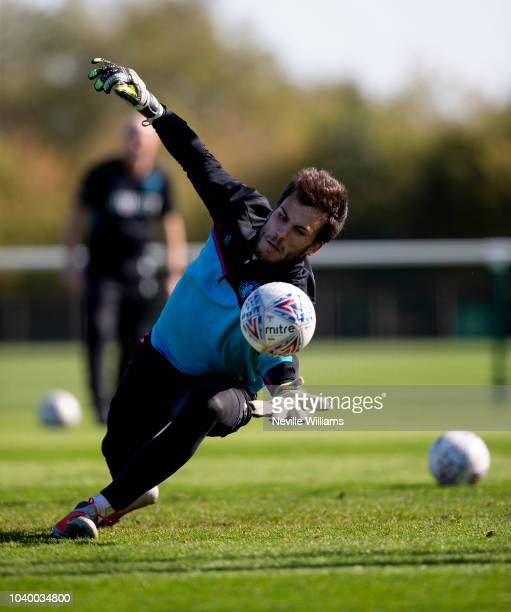 Andre Moreira of Aston Villa in action during a training session at the club's training ground at Bodymoor Heath on September 25 2018 in Birmingham...