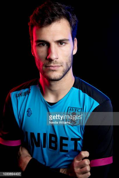 Andre Moreira of Aston Villa poses for a picture during the Aston Villa official photo call at the club's training ground at Bodymoor Heath on...