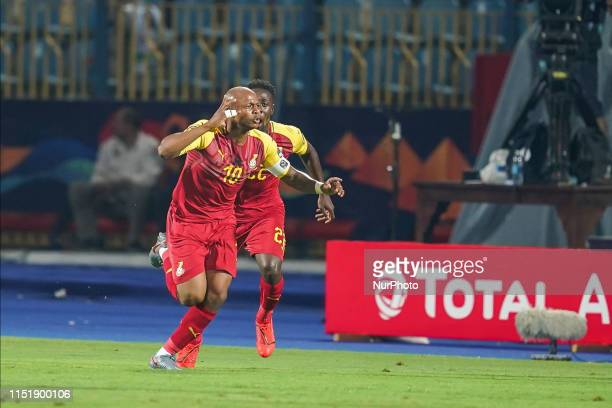 Andre Morgan Rami Ayew of Ghana celebrating scoring to 1-1 during the 2019 African Cup of Nations match between Ghana and Benin at the Ismailia...