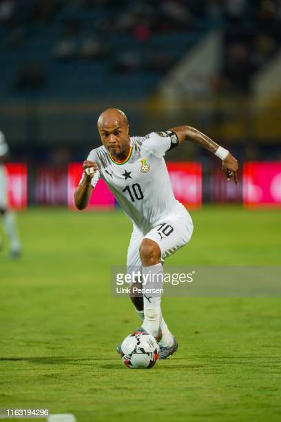 Andre Morgan Rami Ayew of Ghana during the 2019 Africa Cup of Nations round of 16 soccer match between Ghana and Tunisia at the Ismailia Stadium on...