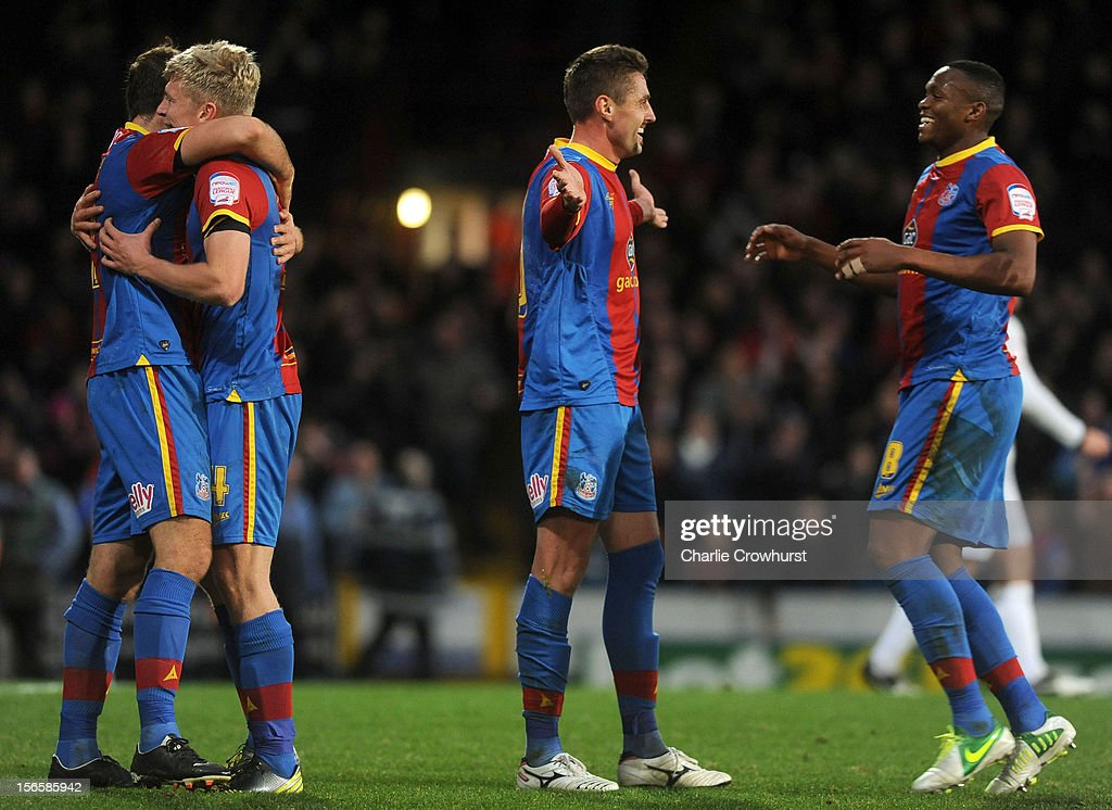 Andre Moritz of Crystal Palace celebrates his goal with team mates during the npower Championship match between Crystal Palace and Derby County at Selhurst Park on November 17, 2012 in London, England.